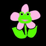 【カエルのイラスト】ピンクのお花とカエル