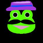 【カエルのイラスト】ひげと帽子のおじさん
