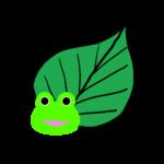 【カエルのイラスト】緑の葉っぱとカエル