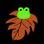 【カエルのイラスト】茶色の葉っぱとカエル