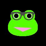 【カエルのイラスト】メガネをかけたカエル