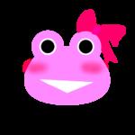 【カエルのイラスト】リボンをしたピンク色のカエル