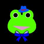 【カエルのイラスト】帽子とリボンのカエル