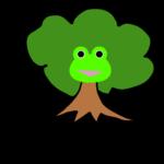 【カエルのイラスト】木とカエル