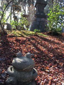 如意輪寺のかえると紅葉