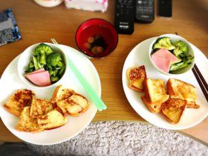 フレンチトーストとブロッコリーとハム1