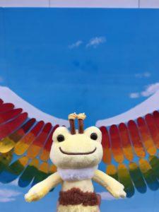 虹の羽根とカエル