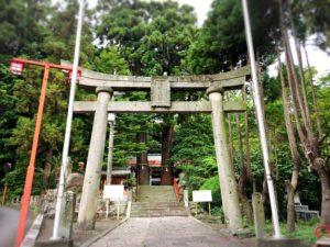 八幡朝見神社の鳥居と大きな木