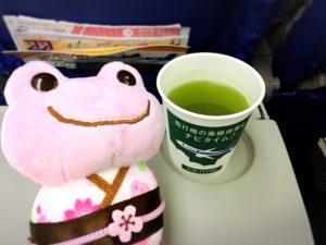 飛行機内でお茶を飲むカエル