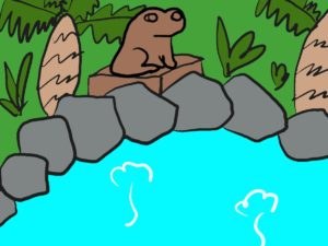 なにわの湯の外湯のカエル像の手書きイメージ図
