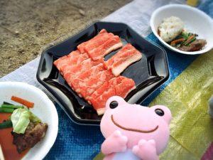 焼く前のお肉と焼いたお肉