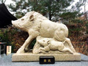 白崎八幡宮の干支の石像・亥