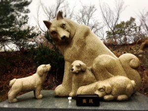 白崎八幡宮の干支の石像・戌