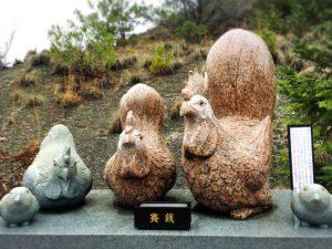 白崎八幡宮の干支の石像・酉