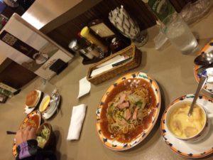 名古屋のカフェレストラン・ドンキホーテのあんかけスパのスープパンサラダセット