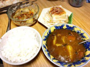 カレーと肉じゃがとごはんと豆腐サラダ