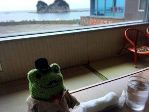 さいかやから見た円月島の景色とカエル