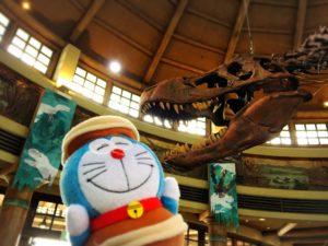 ディスカバリーレストラン内部の恐竜の骨と持参したドラえもんぬいぐるみ