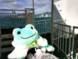徳山港スオーナダフェリーと海とカエル1