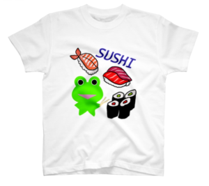 SUZURI(スズリ)で販売中のみらケロ作「お寿司を楽しむカエルくん」Tシャツ