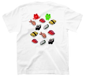 SUZURI(スズリ)で販売中のみらケロ作「お寿司を楽しむカエルくん」Tシャツのバックプリント